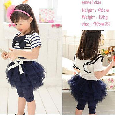 Kid Baby Girl Stripe Short Sleeve T-shirt Tulle Skirt Leggings Culottes Set 2-7Y