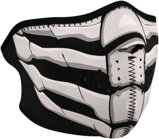 Zan Headgear Black Neoprene Glow In The Dark Bone Breath Half Mask - WNFM168HG