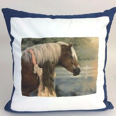 Horse & Girl First Love Custom Handmade Portrait Denim Throw Pillow Harrison
