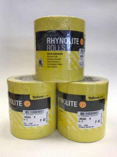 3 x 5m P60 Grit Course Indasa Rhynolite Yellowline Oxide Sandpaper Glass Paper