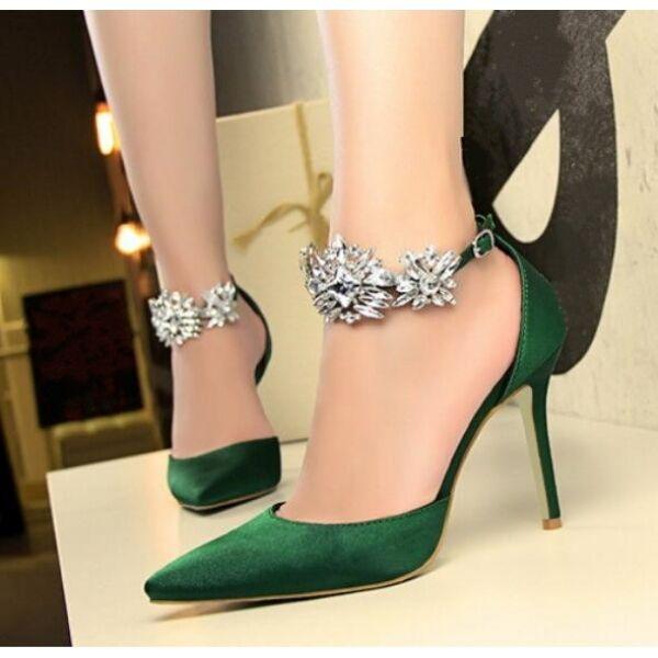 zapatos de salón sandalias tacón de aguja 9.5 elegantes verde cinturón joya como