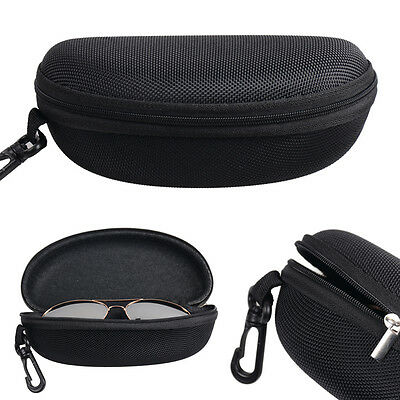 Portable Zipper Clam Eye Glasses Sunglasses Shell Hard Case Box Pouch Bag Black