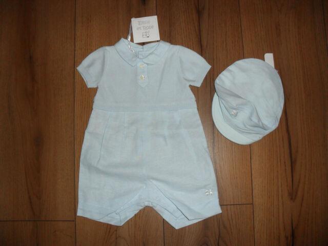 e1606903b Emile Et Rose  clark  Baby Boy Blue True Knit   Linen Romper and Cap ...