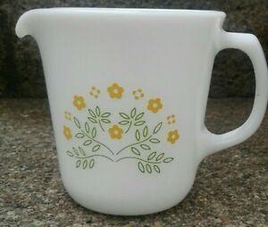 Vtg PYREX SUMMER IMPRESSIONS CREAMER-SUNSHINE honeydew Green Yellow Flowers
