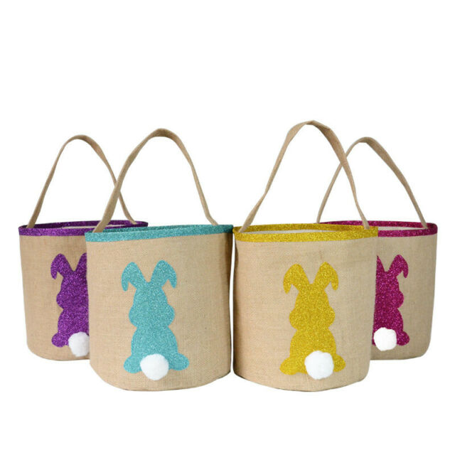 Portable Easter Egg Basket Rabbit Bunny Printed Canvas Gift Carry Candy Bag