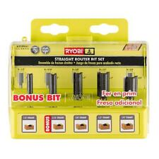 Ryobi Straight Router Bits Bit Set 5 pc. Carbide-Edged Woodworking Accessory