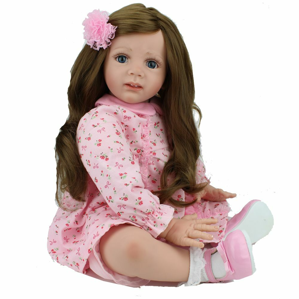 24  Bambola Baby Reborn lunghi capelli Ragazza likelife Baby Toys neonato bambino Kids regalo