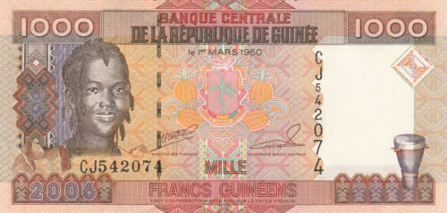 2006 Guinea 1000 Francs Girl//Ore Mining//p40 UNC