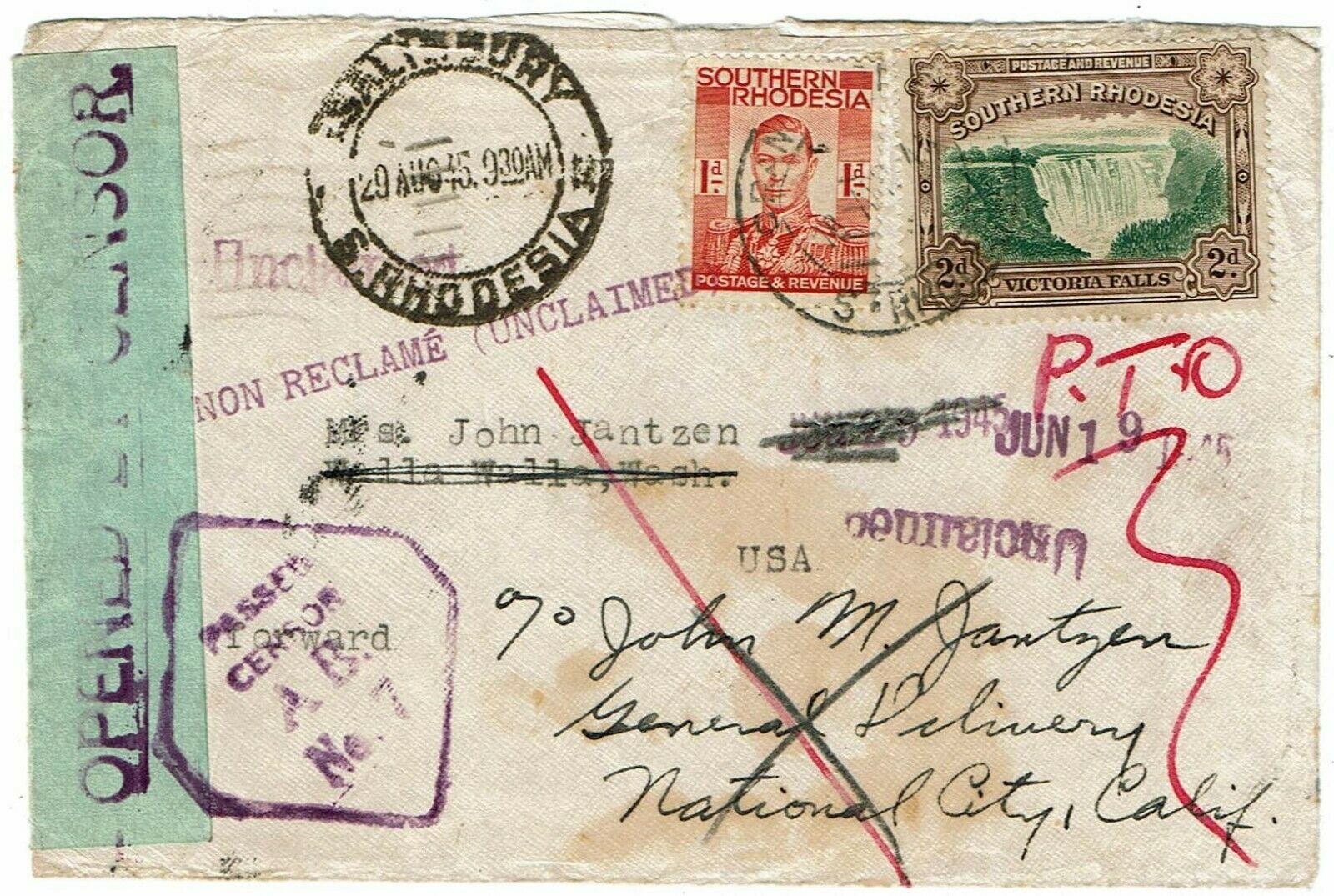 Southern Rhodesia 1945 Salisbury cancel on cover to the U.S., unclaimed, censor