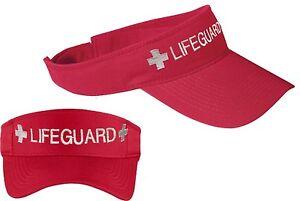 Image is loading LIFEGUARD-VISOR-Embroidered-Adjustable-Red 37739e0652f