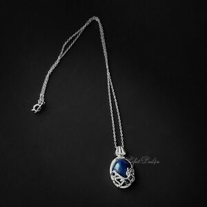 Dark-Blue-Oval-Pendant-Faux-Lapis-Lazuli-Cute-Necklace-925-sterling-Silver-chain