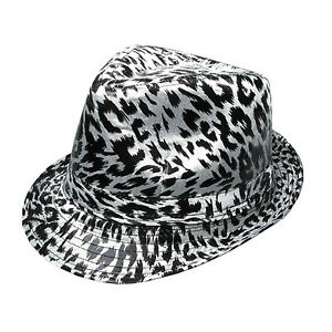 Mens High Quality Black White Leopard Print Trilby Hat UK Seller ... 9402532e90c