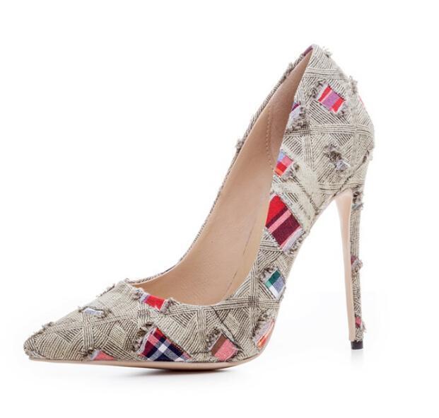 Women Pointy Toe Pieced  Plaid Plaid Plaid  Pull On Canvas Stilettos Multicolor shoes @BT02 aa894e