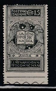 FRANCOBOLLI-1921-REGNO-DANTE-C-15-NON-DENTELLATO-IN-BASSO-MNH-Z-9277