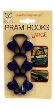 3 Large Blue Baby Pram Buggy Stroller Pushchair Hooks Clips Carrier Bag Holders