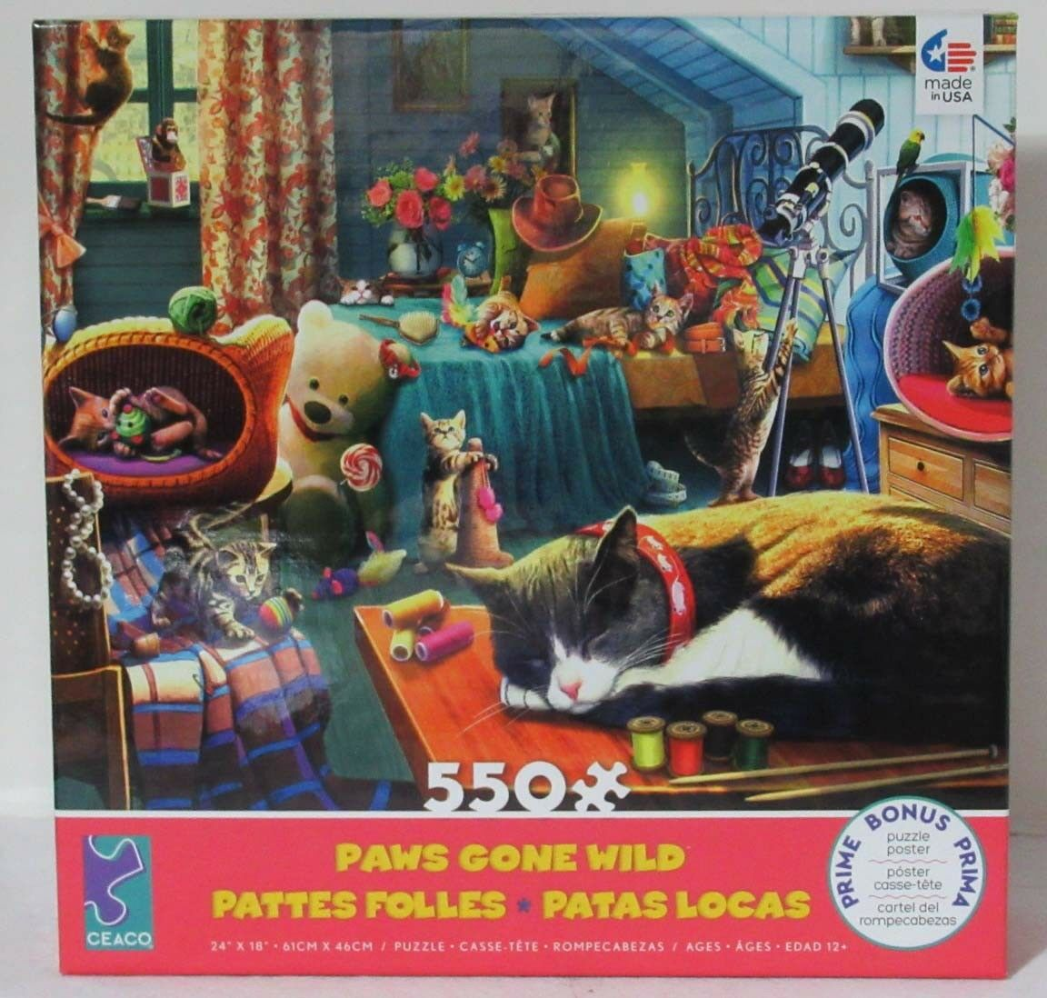 Ceaco 550 Piece Jigsaw Puzzle Paws Gone Wild Playful Cats KITTEN PLAY