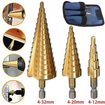 3Pcs HSS Spiral Grooved Step Cone Drill Drills Bit 4-12 4-20 4-32mm Hole Cut