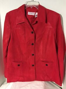 Alfred-Dunner-Women-039-s-Jacket-Faux-Red-Suede-Black-Accent-Stiching-Lined-Size-12