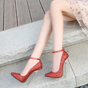 Women Sequins Super High Heel Pointy Toe Party Stiletto Buckle Ankle Strap Shoes