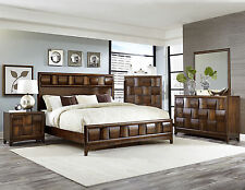 ATHERTON-5pcs Walnut Brown King Size Bed Panel Bedroom Set Modern Furniture NEW
