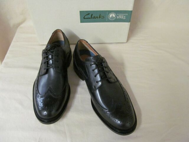 Men's 7m Clarks Dorset Limit Dress Brogue Wingtip Oxford Black Leather Shoes
