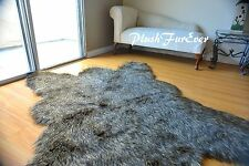 2 x 3 Black Tip Wolf Bear skin Lodge Cabin Decor Accents Home Rug