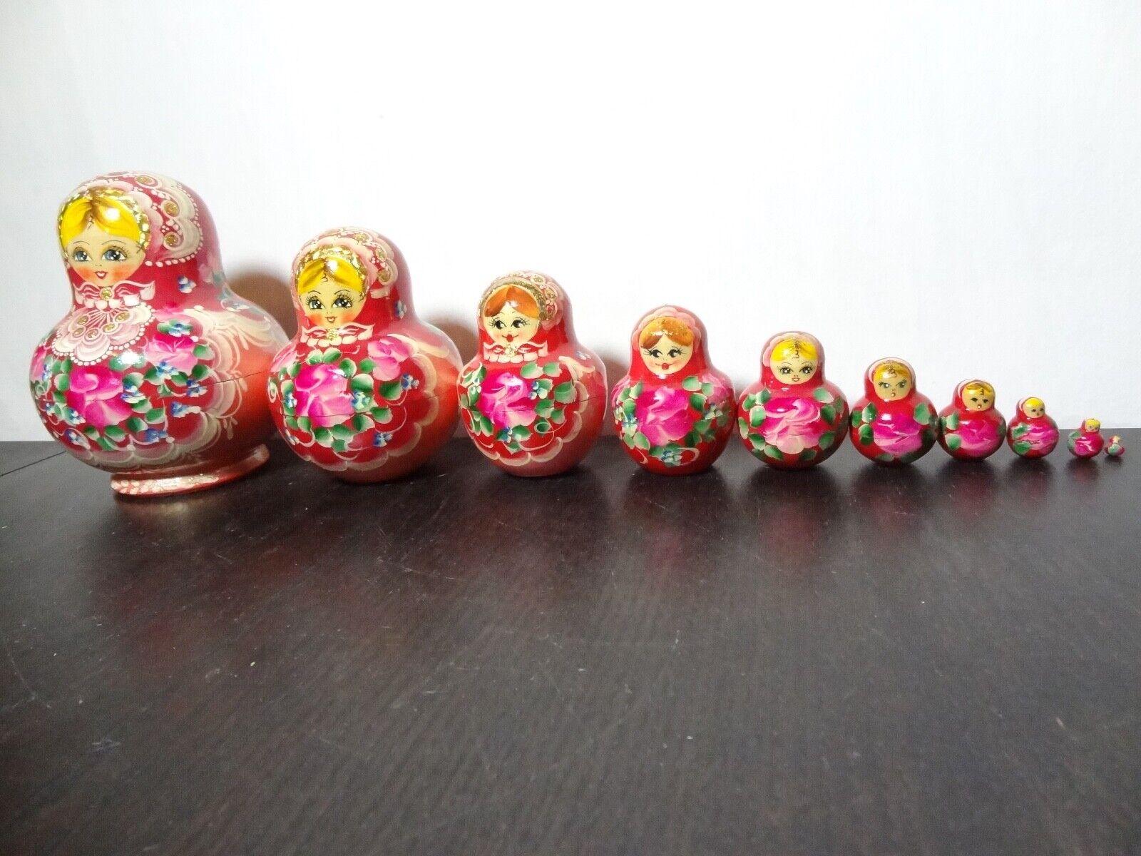 Russian He Painted  Nesting bambolas 10pc Matryoshka  lo stile classico