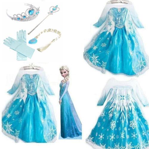 Kids Girls Party Fancy Dresses Elsa Dress up Costume Princess Dress 4Accessories