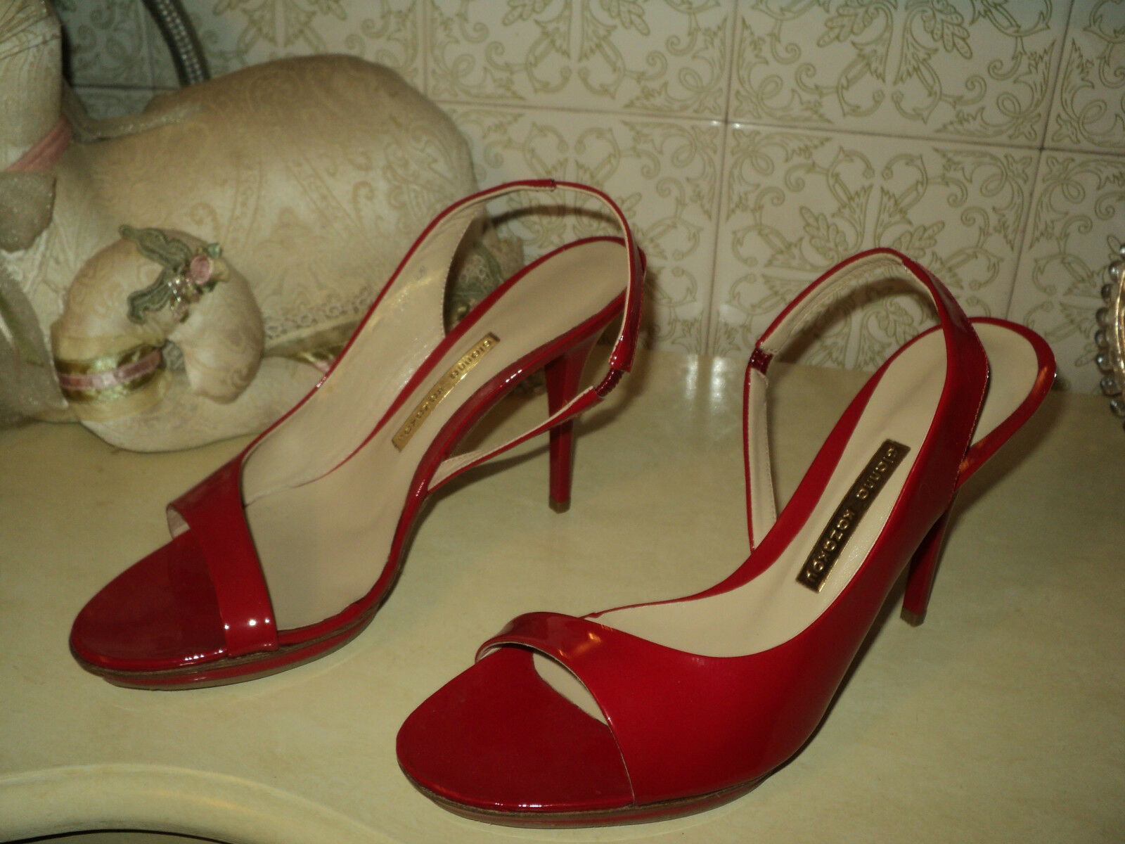 RED PATENT GENUINE LEATHER SLINGBACK SANDALS STILETTO HEELS*EU 38 *US 7,5 *