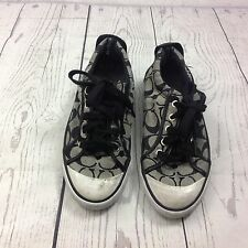Coach Signature Logo Barrett Sneakers Lace Up  Tennis Shoes Size 61/2 B Black
