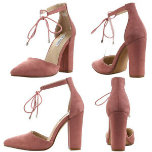 4ae37c8604 New Rose Pink Pointy Toe Lace Up Ankle Strap Chunky Block Heel Women ...
