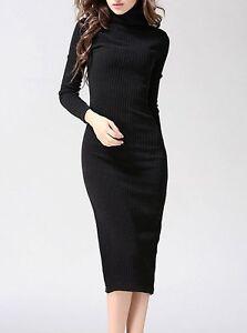 Vestido tubo manga larga negro