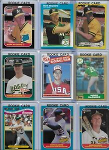 Mark McGwire A's Lot of (18) w/ (10) Rookies 1985 Topps #401 1987 Donruss #1 EX