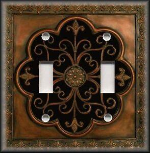 Copper Black Decor Light Switch Plate Cover Faux Finish Fleur De Lis Image