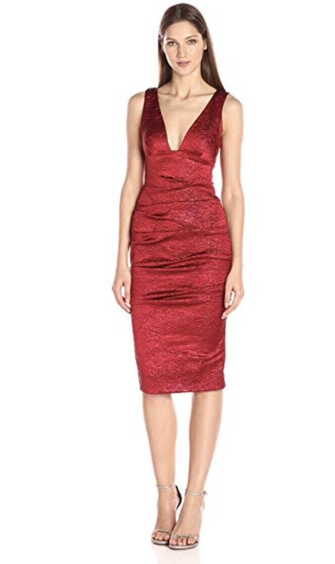 Nicole Miller Collection Red Metallic Crinkled  Dress Size 4