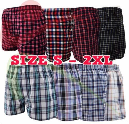 3 6 12 Hommes Tissée Boxer Shorts Loose Fit Coton Sous-vêtements Fly Pantalon Lot S 5XL