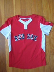 Boston Red Sox MLB baseball Majestic JERSEY boys t shirt white blue ... cfdcca70285