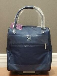 JM-Tuffed-Embossed-wheeled-Travel-Bag-w-RFID-Protection-Navy