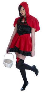 Mujer-XS-adolescente-Caperucita-Roja-Vestido-y-Capa-Disfraz-Cuento-De-Hadas-Ropa