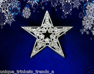 CLEAR RHINESTONE SILVER WHITE GOLD PLATED 5 POINT STAR PIN BROOCH CHRISTMAS GIFT