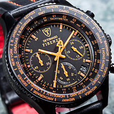 New DETOMASO Firenze Chronograph Mens Watch Black S-Steel Orange Indices