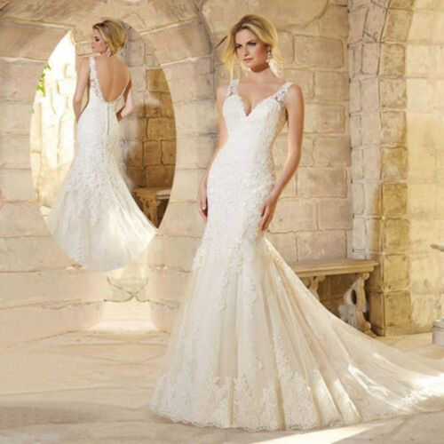 Lace Wedding Dresses Mermaid Backless V Neck Applique Court Train Wedding Gowns