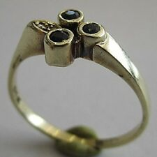 14k Yellow Gold Diamond and Sapphire Ring Size 7