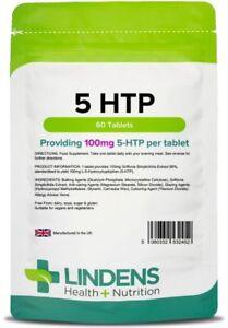 5-HTP-100mg-60-Compresse-Ansia-Depressione-dell-039-appetito-insonnia-serotonina-Lindens-UK