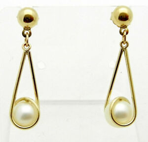 Image Is Loading Casual 14k 585 Yellow Gold Natural Pearl Dangle