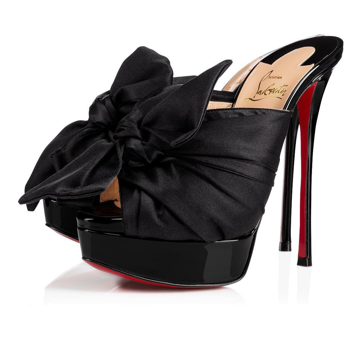 NIB Christian Louboutin Moniquissima 150 Black Bow Platform Sandal Heel Pump 36