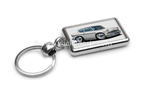 RetroArtz Cartoon Car Classic Ford Anglia 150E in White Premium Metal Key Ring