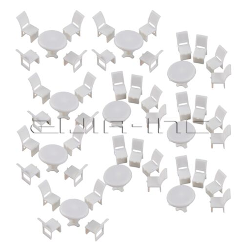 10 Tables 40 Chairs 1:75 Scale for Dollhouse Miniature Furniture Dining Room