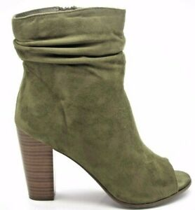 Olive Slouch Ankle Booties Faux Suede
