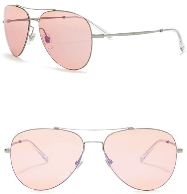 77c67378906ae Gucci GG 0500s Pilot Aviator Rose Gold Violet Metal Sunglasses Unisex 2245